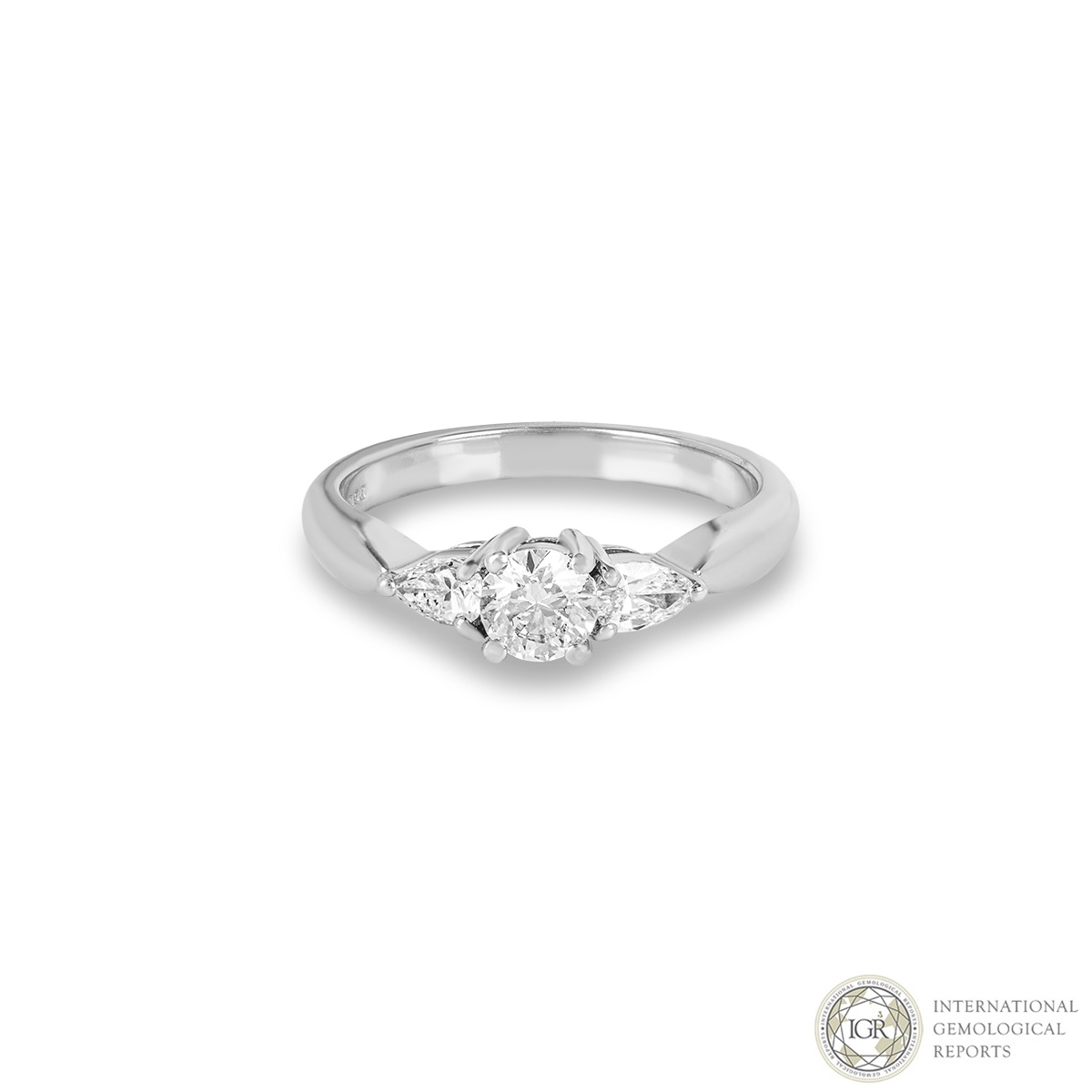 A Three Stone Diamond Ring In Platinum 0.37ct G/SI2